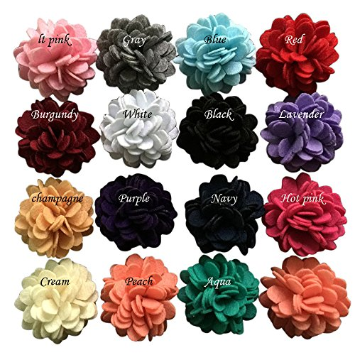 Yazon 2inch Ruffle Felt Flower Baby Girl's Kid's Hair Flower Clips (2'' felt flower 16pcs with (Flower Felt Bag)