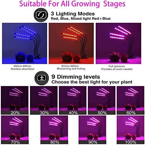 LED Grow Light for Indoor Plants, RAYWAY 80W Tri Head Timing 80 LED 9 Dimmable Levels Plant Grow Lights with Red Blue Spectrum and Auto ON Off 3 9 12H Timer,3 Switch Modes