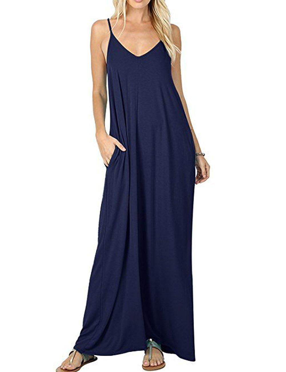 Navy KOSMOO Women's Sleeveless Loose Plain Maxi Dresses Casual Long Dresses