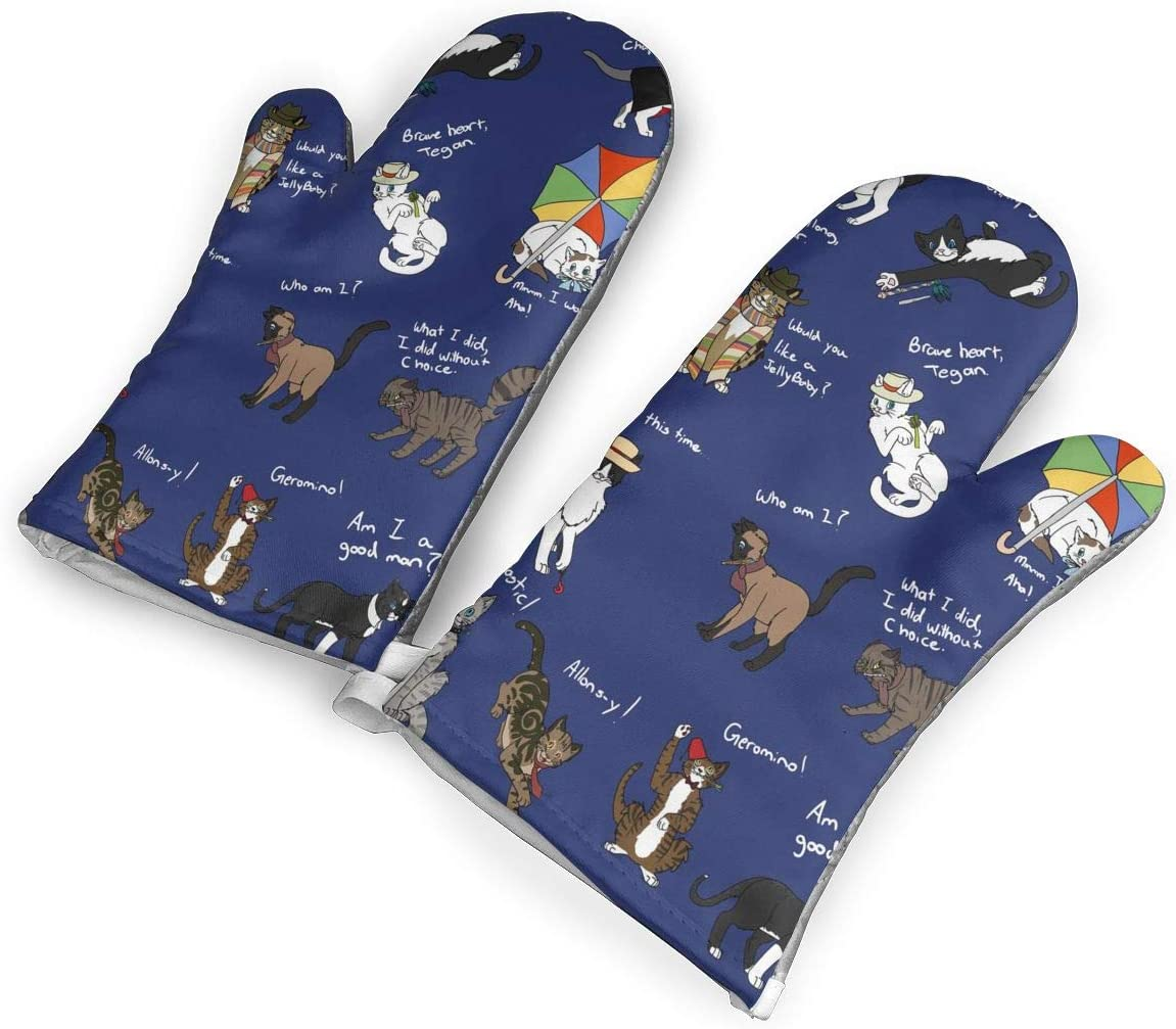 Doctor Who Cats Oven Gloves,Non-Slip Easy to Use Oven Mitts for Cooking,1Pair