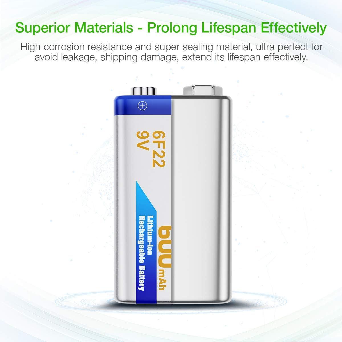 EBL 9 Volt 600mAh Li-ion Rechargeable 9V Batteries Lithium-ion, 6 Pack: Electronics