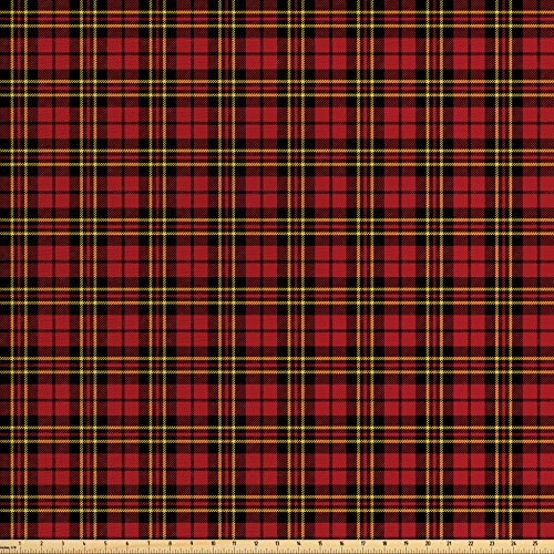 Lunarable Plaid Fabric by the Yard, Classical Celtic Fashion Tartan Checks and Stripes Cultural Folk Inspiration, Decorative Fabric for Upholstery and Home Accents, Red Black (Tartan Check)