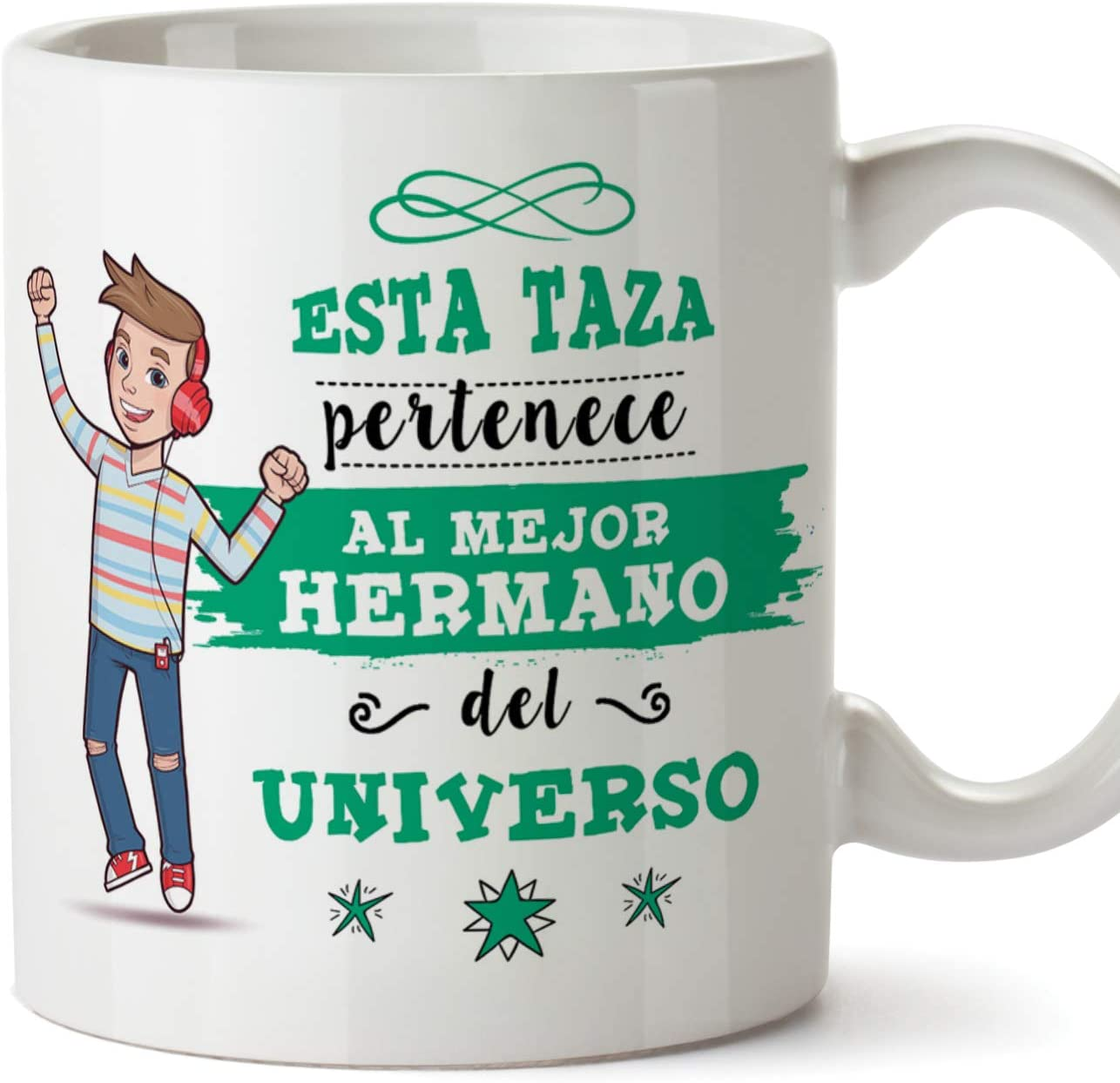 MUGFFINS Taza Hermano - Esta Taza Pertenece al Mejor Hermano del Universo - Taza Desayuno/Idea Regalo Original/Cumpleaños de Hermanitos. Cerámica 350 mL