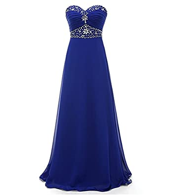 macria Womens Long Sweetheart Prom Dresses Beaded Chiffon Evening Gowns Size 6 Royalblue
