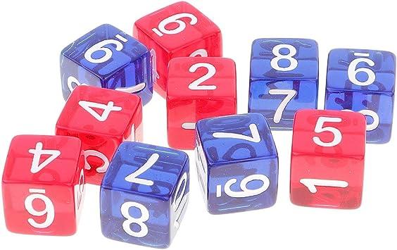 Set de 10 Piezas D6 Seis Caras Dados de Números 1-12 Cuadrados Transparentes Juegos de Mesa Mazmorras y Dragones MTG Juego RPG: Amazon.es: Juguetes y juegos