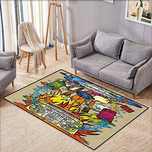 Skid-Resistant Rug,Modern Art Home Decor,Hippie Funk Trippy Objects with UFO Music Box Lips Tapes Speakers Image,Ideal Gift for Children,4'11