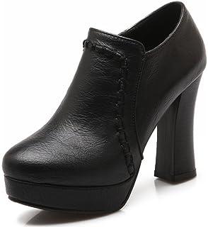 7678688f7e Summerwhisper Women's Trendy Round Toe Chunky High Heel Pumps Platform Side Zipper  Ankle Boots