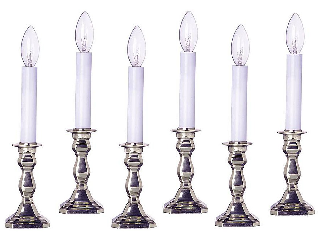 Lamps - Warwick Octagonal Brass Electric Window Candlestick Lamps - Set of Six - Pewter Finish by KensingtonRow Home Collection
