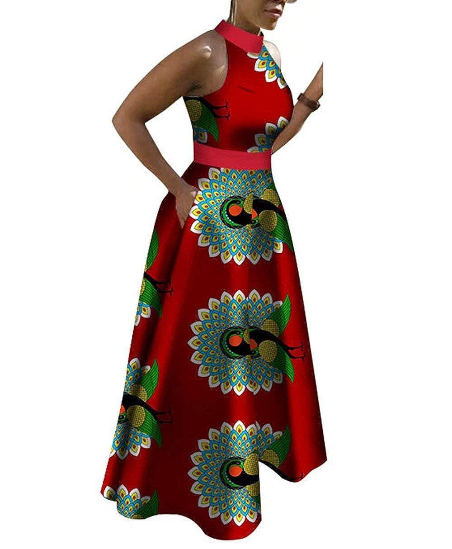 Pl536 BintaRealWax Womens Halter Neck African Maxi Dress Ankara Long Day Dress