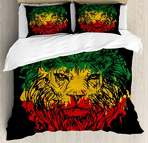 Ambesonne Rasta Duvet Cover Set, Ethiopian Flag Colors on Grunge Sketchy Lion Head with Black Backdrop, Decorative 3 Piece Bedding Set with 2 Pillow Shams, King Size, Lime Green (Rasta Color Blanket)