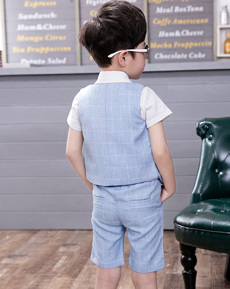 Camicia Compleanno Vestito 3 Pezzi Quge Completo Bambino Ragazzo Vestiti Gilet Pantaloncini