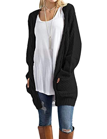 Traleubie Women s Loose Casual Long Sleeved Open Front Breathable Cardigans  Sweater with Pocket Black S 3efe6d5e7