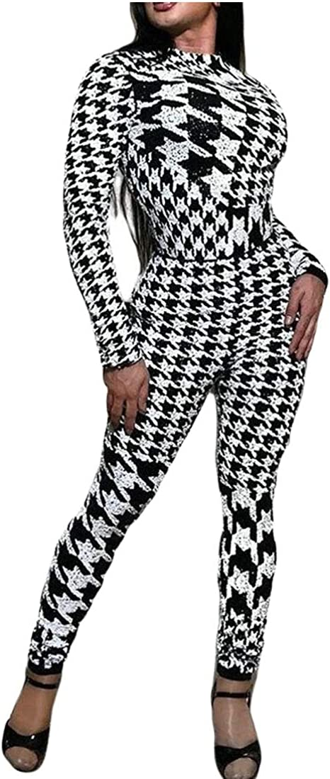 XQS Womens Houndstooth Trouser Long Sleeve Clubwear Bodycon Jumpsuits