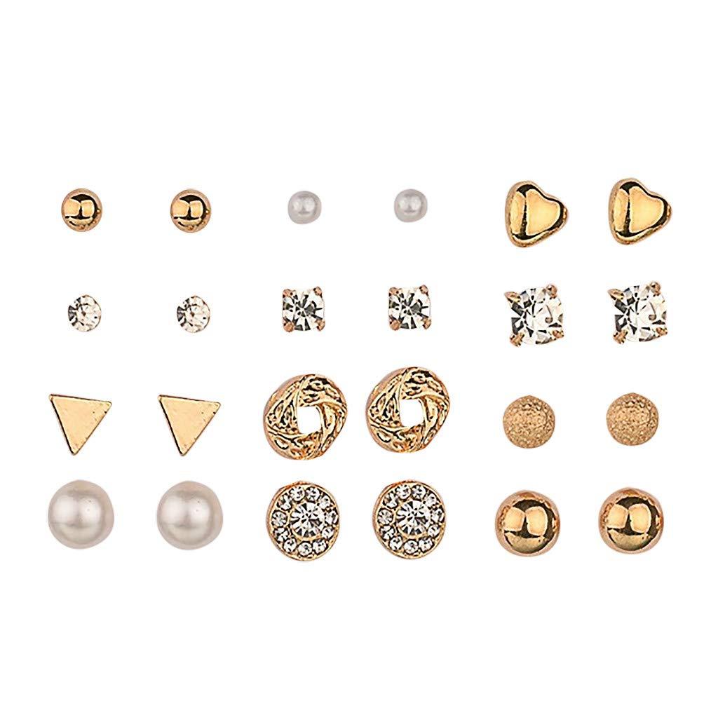 uaswguDFS Heart-Shaped Earrings - 12 Sets Fashion Earrings Ear Ring Set Combination