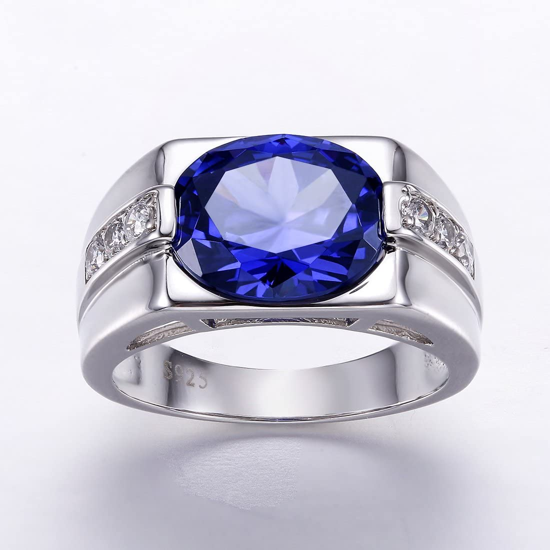 Auzeuner Women Statement Lab-Created Tanzanite 925 Sterling Silver Cocktail Ring
