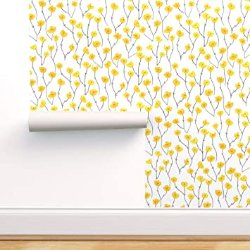 Spoonflower Peel And Stick Removable Wallpaper Retro Bright Yellow Grey Floral Field Summer Print Self Adhesive Wallpaper 24in X 36in Roll Amazon Com