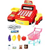 Pretend Play,pgmrw23h,Cashier Toy Cash Register   Pretend Play Set for Kids   Colorful Children's Supermarket Checkout Toy   Ideal Gift for Toddlers & Pre-Schoolers Red