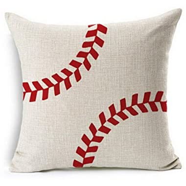 Andreannie Baseball Design Cotton Linen Beige Throw Pillow Case Cushion Cover Home Office Decorative, Square 18 X 18 Inches (for Living Room, Sofa£¬car)