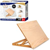 LUCKY CROWN US Art Adjustable Wood Desk Table -Light Weight, Easel with Strong Support