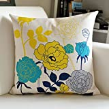 HOMEE Thick Linen Stamp Fabrics Pillow Continental Sofa Cushion Abstract Lines Pillow