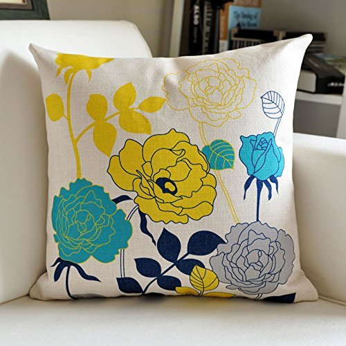HOMEE Thick Linen Stamp Fabrics Pillow Continental Sofa Cushion Abstract Lines Pillow by HOMEE
