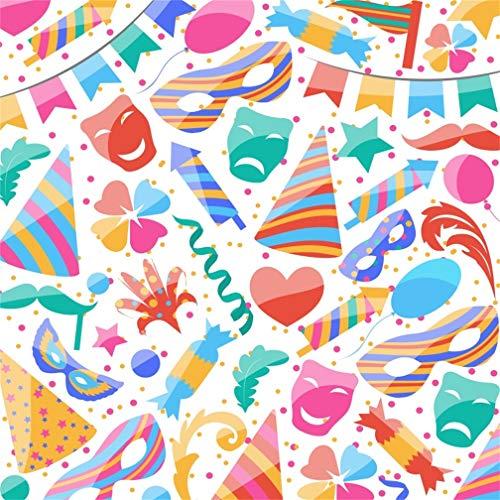 (Leyiyi 7x7ft St. Patrick's Day Backdrop American Fiesta Carnival Party Cap Cracker Confetti Clover Shamrocks Masks Beard Sweet Photography Background Irish Festival Photo Studio Prop Vinyl Wallpaper)