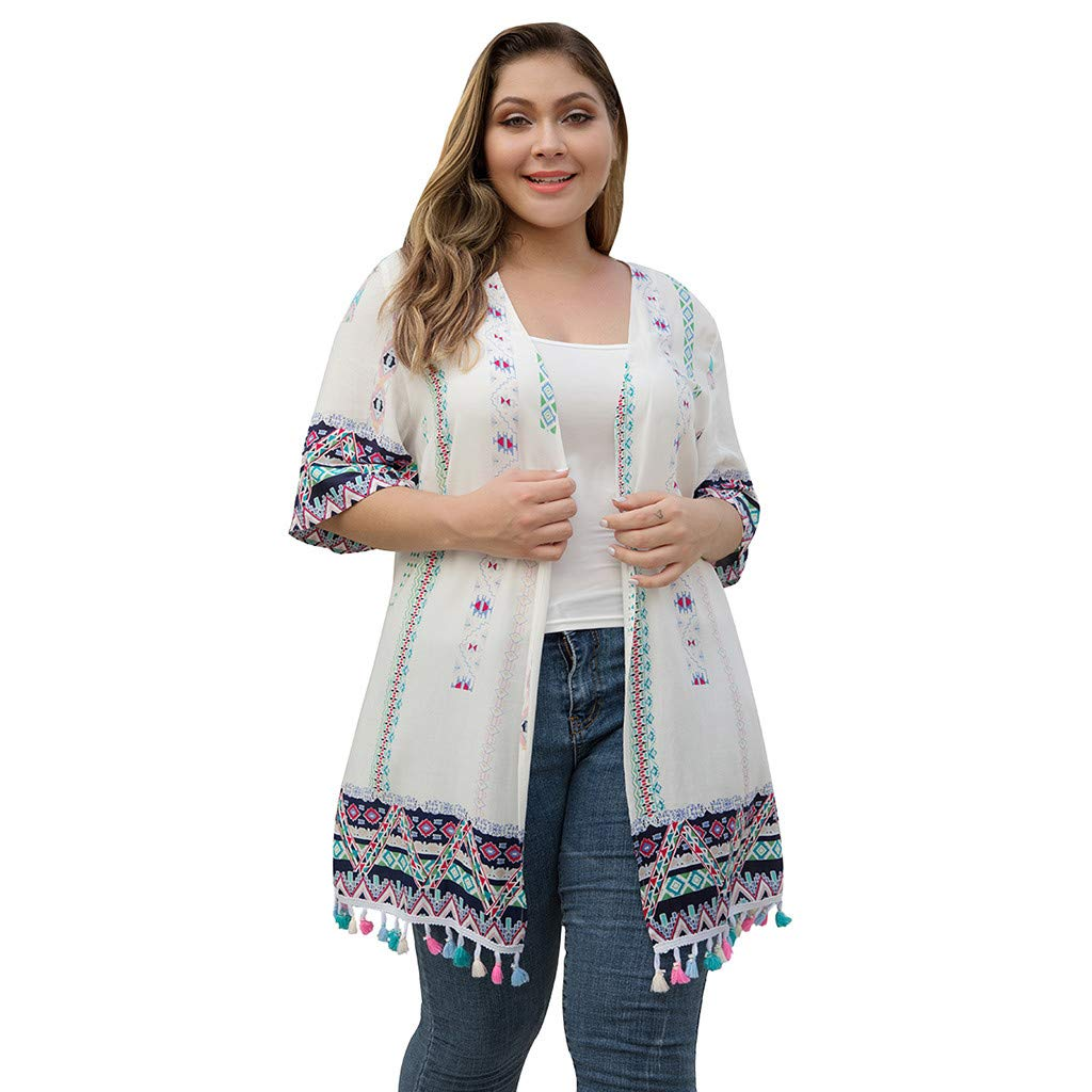 Benficial Women's Plus Size Tassel Lace Positioning Printing Stitching Casual Cardigan 2019 Summer White by Benficial