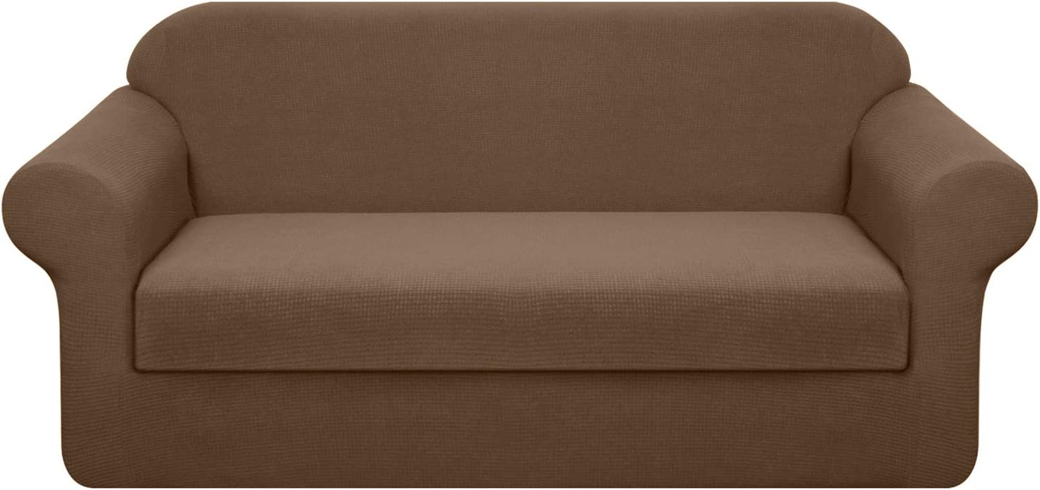 Granbest Stretch Sofa Slipcovers 3 Cushion Couch Covers Water-Repellent Pet Furniture Covers Dog Couch Protectors (Coffee, Large-2 Pieces)