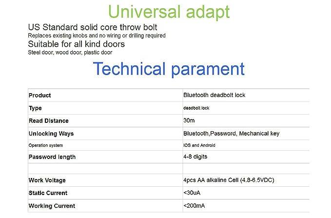 Bluetooth entrada inteligente cerradura puerta cerradura os8815ble: Amazon.es: Bricolaje y herramientas