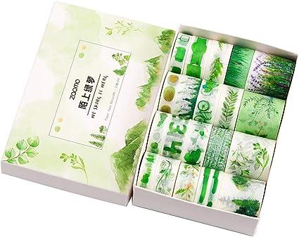 writable Sticky 3 Rolls Washi Tape Set Green Leaves Decorative DIY Adhesive Paper Masking Tapes