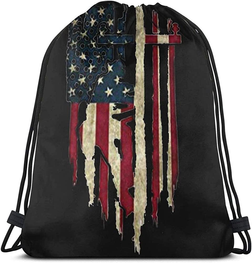 Arvolas Bolsas de cordón de Gimnasio Retro Lineman Bandera Americana Cadena de Tirar de la Bolsa Mochila de Cuerda Durable Cinch Bolsas Bolsa de Deporte portátil