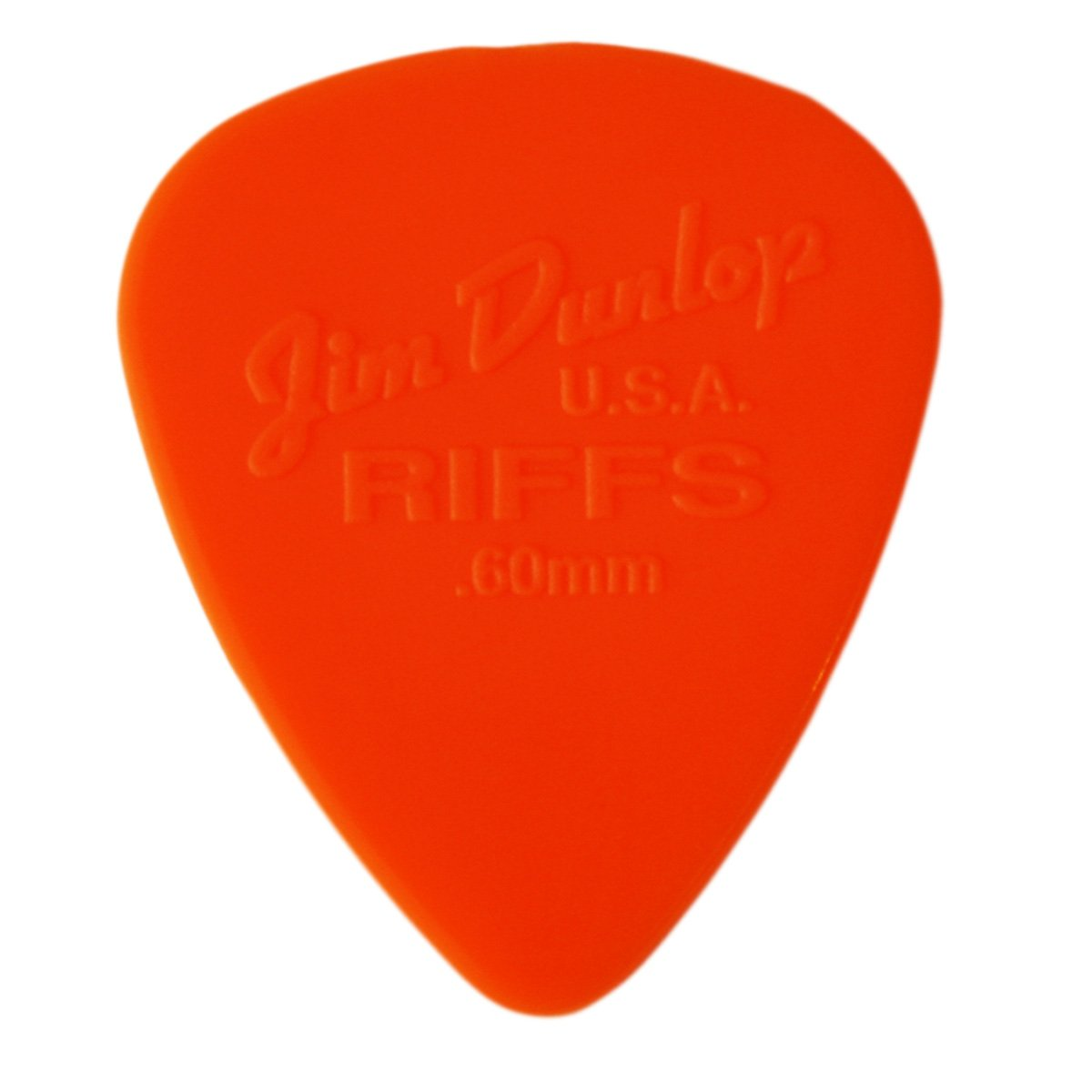 12 púas para guitarra Dunlop Riffs de 0,60 mm, color naranja en una práctica lata Dirty Riffs