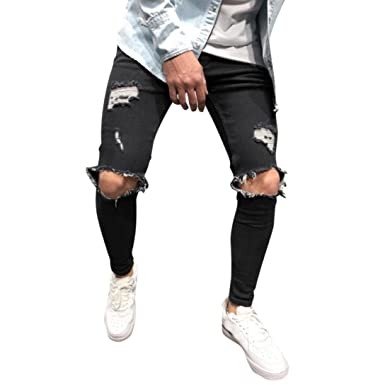 4f1b9d9cf92 Rambling Hot Style Mens Stretchy Ripped Skinny Biker Jeans Destroyed  Tapered Slim Fit Denim Pants Black
