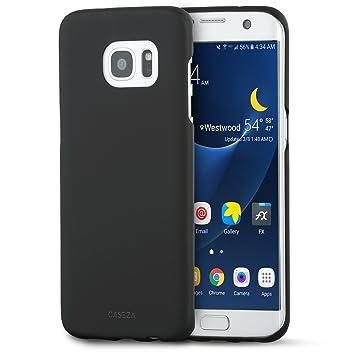 CASEZA Funda Galaxy S7 Edge en Negro Rio Carcasa Trasera Ultrafina con Acabado Goma Mate - Excelente Funda Rígida Protectora - Aspecto y Tacto de ...