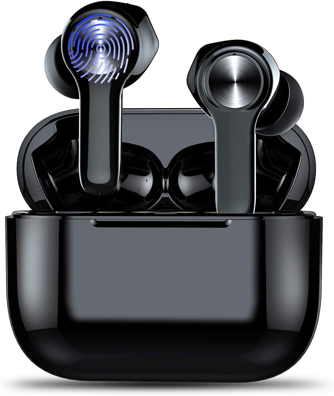 Auriculares Inalámbricos Bluetooth 5.0 Sonido Estéreo, In-Ear Auriculares con Caja de Carga Portátil, Mini Auriculares Deportivos Bluetooth con Micrófonos, Alta Compatibilidad, Control Tactil