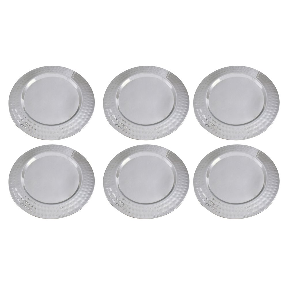 Kosma Set of 6 Premium Charger Plates, Size - 33 cm, Stainless Steel High Polished Charger Plate | Decorative Under-Plates (Hammered)