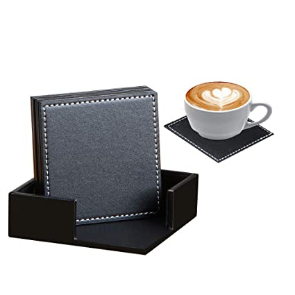 Coaster for Drinks with Holder Set of 6 Square Durable PU Leather Drink Coasters Coffee Cup Pad Dinning Table Mats for Home/Office/Kitchen/Bar,Protect ...