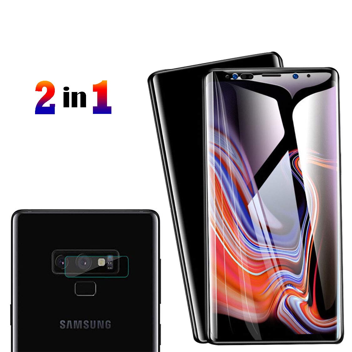 [2 Pack] Galaxy Note 9 Screen Protector Tempered Glass, Include a Camera Lens Protector with [Case Friendly] [Full Screen Coverage] [HD Clear] [Touch Responsive] for Note9 [6.4 inches] by Bocianelli