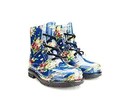 Women's Ankle Flat Blue Rose Flower Transparent Clear Jelly Martin Rain Boots