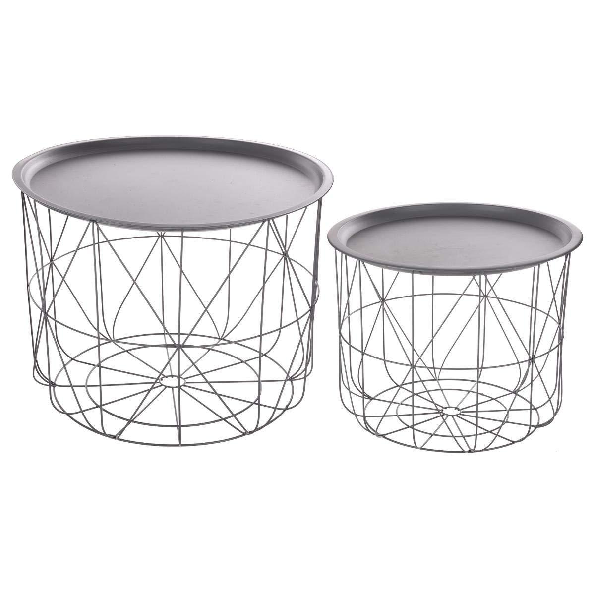 Set di 2 tavolini da caffè impilabili con ripiani amovibili - Design e moderni - Colore: GRIGIO ATMOSPHERA