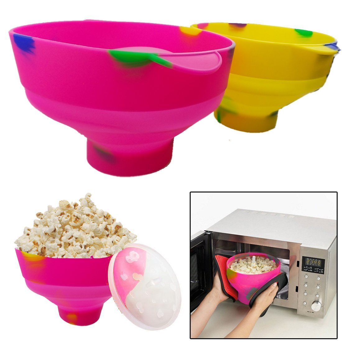JJOnlineStore - Popcorn Maker Popcorn Microwave Bowl Popper Silicone Collapsible Family Homemade for Kids with Handle (Random Colours)