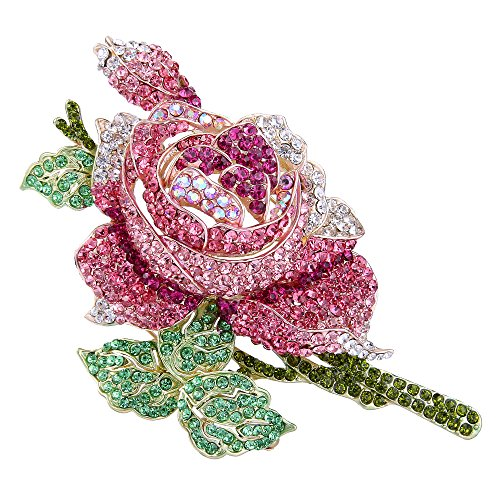 EVER FAITH Women's Crystal Enamel Romantic Blooming Rose Flower Leaf Brooch Pink Gold-Tone