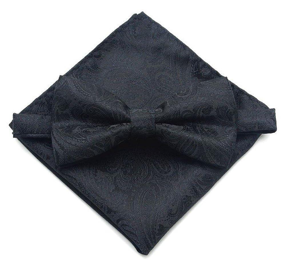New Men/'s Microfiber Pre-tied Bow Tie /& Pocket Square Hankie Red Black Dots