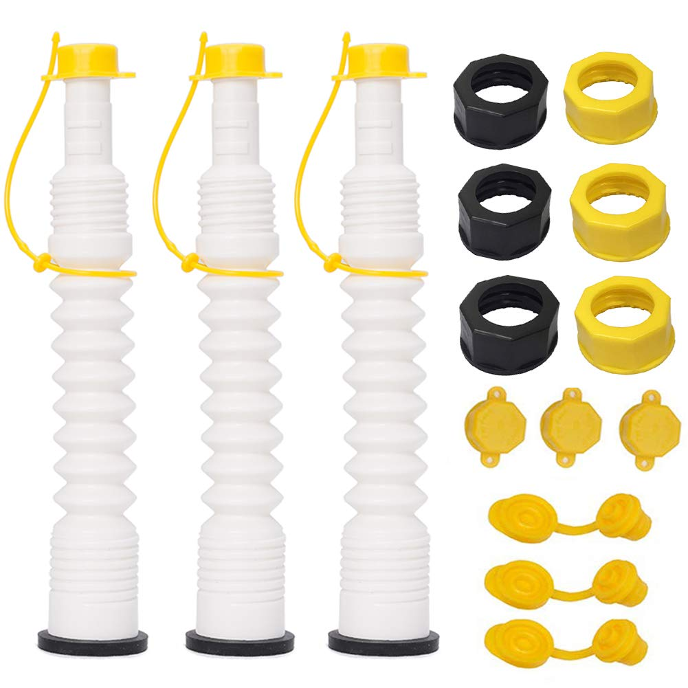 ORANDESIGNE Replacement Spout Kit, Old-Style Gas Can Pour Spout Nozzle Update Your Old Plastic Fuel Kerosene Diesel Cans and Water Jugs (White,3 Pack)