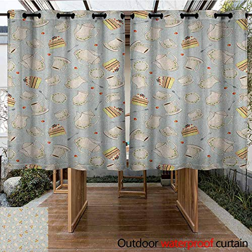 AndyTours Grommet Outdoor Curtains,Tea Party,Coffee Pot Teapot Spoons Plates and Creamy Slices of Cake with Cherries,Room Darkening, Noise Reducing,K160C160 Bluegrey Red Green ()