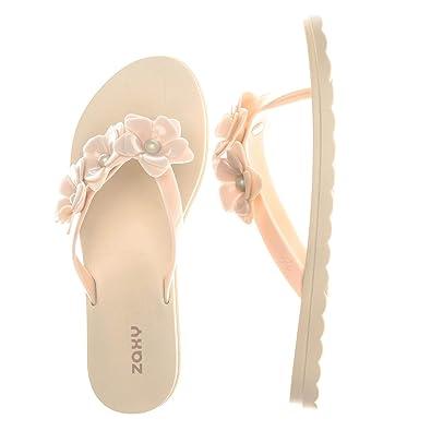 New Womens Zaxy Black Fresh Flower Pvc Sandals Flip Flops Slip On