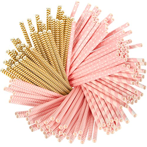 Pink And Brown Party Supplies (Paper Straws - 160-Pack Pink and Gold Colored Fun Biodegradable Drinking Straws with Coral Stripes, Polka Dot, and Chevron Designs)
