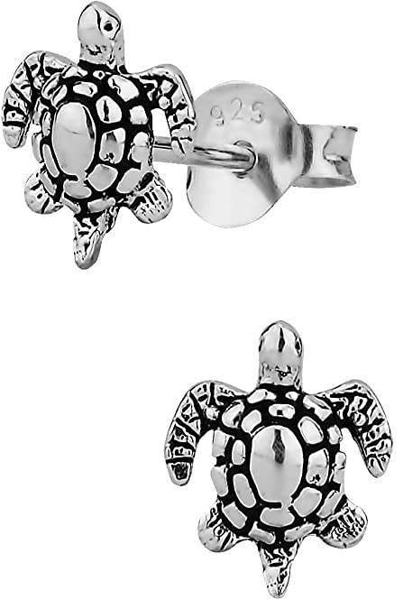 8f1560cc2ee4c Hypoallergenic Sterling Silver Tiny Sea Turtle Stud Earrings for Kids  (Nickel Free)