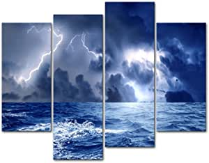 "12/""x26/""Lightning Sky Sea Scenery Home Decor HD Canvas Print Wall Art Painting"