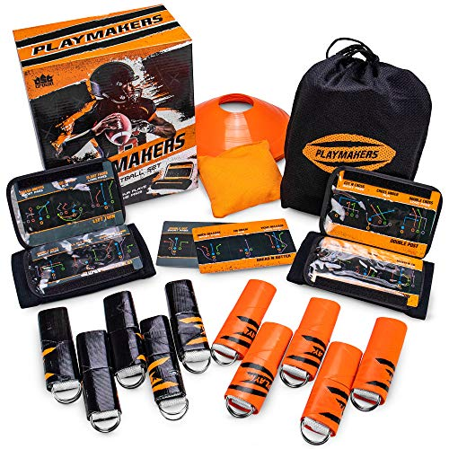 Playmakers Flag Football Set: Call Plays Like the Pros - Includes 2 Teams of 5 Flags, 2 QB Wristbands, 6 Double-sided Play Inserts (18 Plays), 10 Field Marker Cones, Rulebook, & Yard Marker Bean Bag (Best Football Kits Ever)